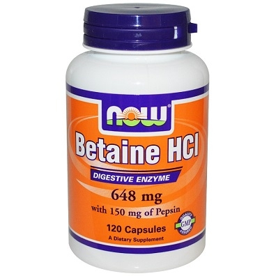 Now Betaine HCL 648mg, 120 capsules